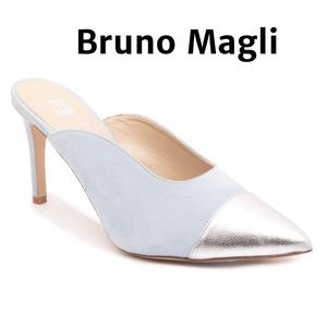 NEW Bruno Magli Blue Silver Pointed Toe Mule Sz 9